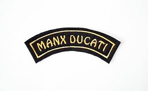 CLASSIC MANX DUCATI EMBROIDERED CURVED MOTORCYCLE PATCH