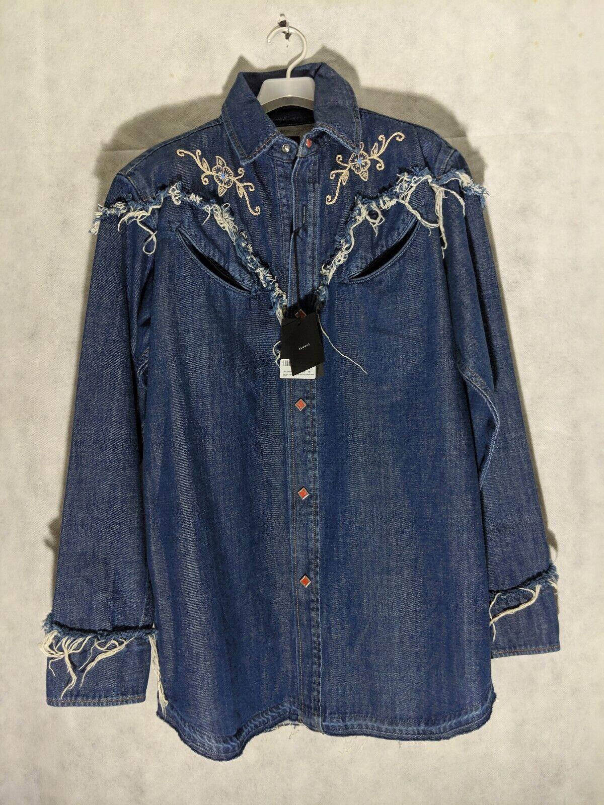 Alanui Western Denim Embroidered Snap Button Shirt NWT Medium
