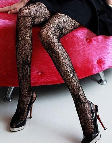 Fashion Women Fishnet Tattoo Paisley Pattern Jacquard Stockings Pantyhose Tights