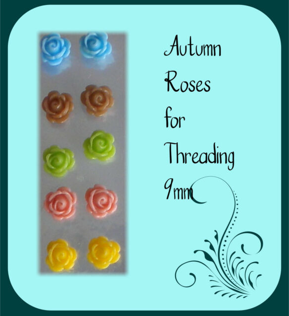 Fall Rose holes for Beading Flowers Roses Resin Beads 5 Pairs 5 Colours Autumn