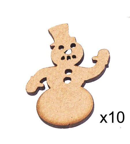 Pack de 10 ~ 75 mm HAUT HQ MDF bonhommes de neige Formes Embellissements 3 mm épais MDF #01
