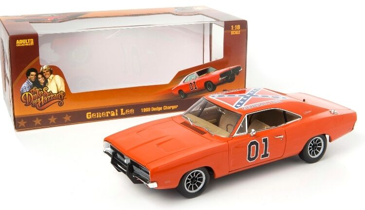 Dukes of hazzard 1969 dodge charger -  general lee - 1,18 skala autoworld