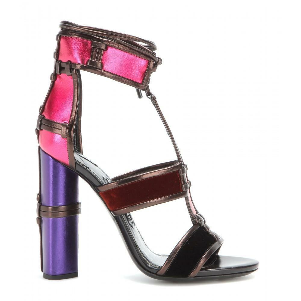 Auth NIB TOM FORD Patchwork Cage Sandals Metallic Velvet Strappy Heels Multi 39