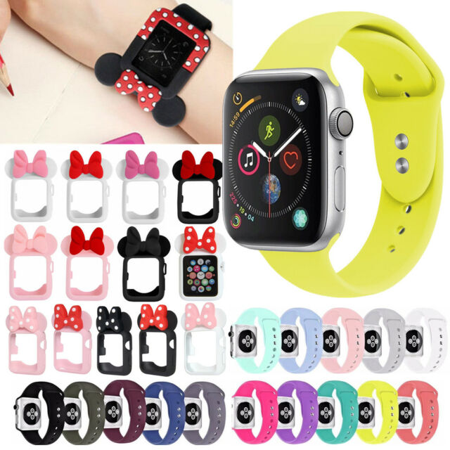 MINNIE SILICONE SNAP ON CASE COVER SPORT BAND STRAP FOR APPLE WATCH SERIES 4321