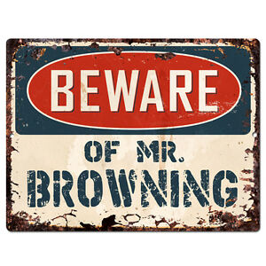 Image Is Loading PBMR0732 Beware Of MR BROWNING Chic Plate TIN