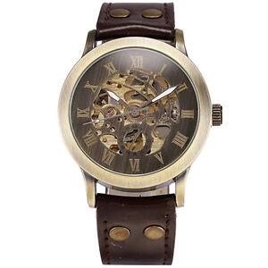 Men-039-s-Steampunk-Bronze-Skeleton-Self-Winding-Auto-Mechanical-Leather-Wrist-Watch