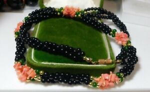 Vintage Pink Branch Coral Braided 3T Black Green Jade color Glass Necklace CA 15
