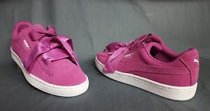 75f0274650cf Puma Suede Heart Jr Athletic Sneakers Rose Violet White Girls Size ...