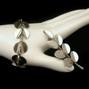 DENMARK-COF-STERLING-Vintage-Mid-Century-Modernist-Bracelet-Brooch-Pin-Set