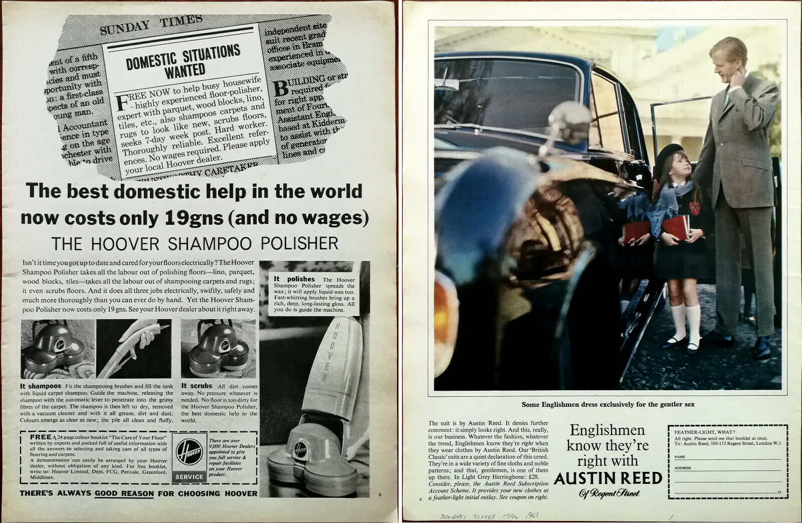 Hoover Shampoo Polisher Best Domestic Help In The World Austin Reed Ad 1965 Ebay