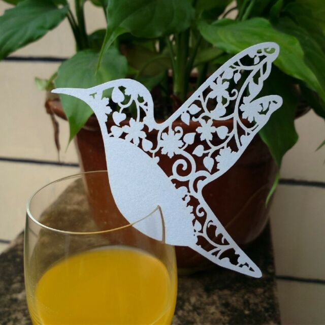 Bird Escort Card Paper Place Card Wine Glass Card Paper for Wedding Party 10pcs