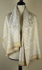 af16229f0eb1e NEW LV Monogram Shine WHITE Silk Scarf Shawl 100% Authentic ...