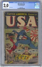 USA Comics #14 CGC 2.0 VINTAGE Timely Marvel Comic Captain America Bucky 10c