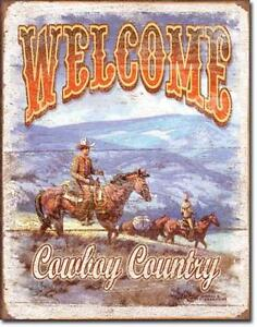 Cowboys Bienvenue-welcome Cowboy Country Usa Western Équitation Métal Affiche-afficher Le Titre D'origine