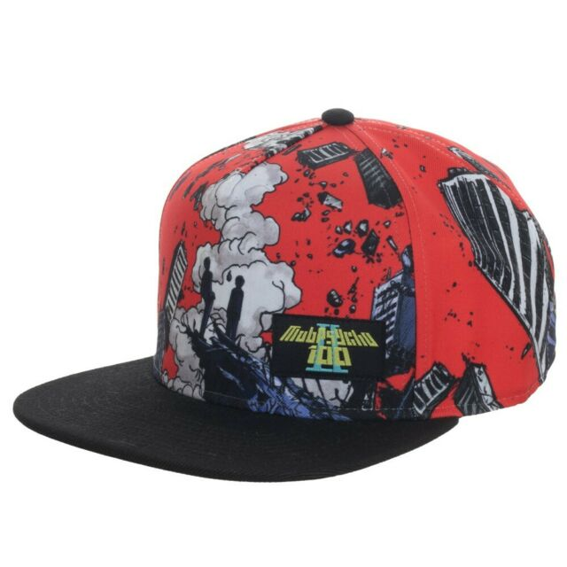 ANIME MOB PSYCHO 100 SUBLIMATED FLAT BILL CHARACTER ADJUSTABLE SNAPBACK HAT CAP