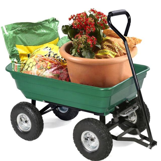 Heavy Duty Poly Steel Garden Utility Yard Lawn Dump Cart Wagon Wheel Barrow