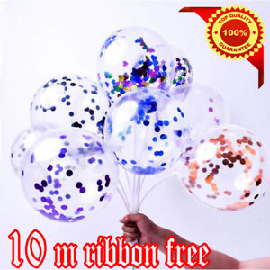 10X Rose Gold Happy Birthday Number Confetti Filled Balloons Party Decorations