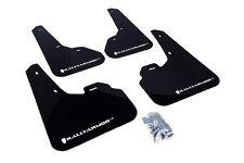 Rally Armor Mud Flaps Guards for 10-13 Mazda3 Mazdaspeed 3 (Black w/White Logo)