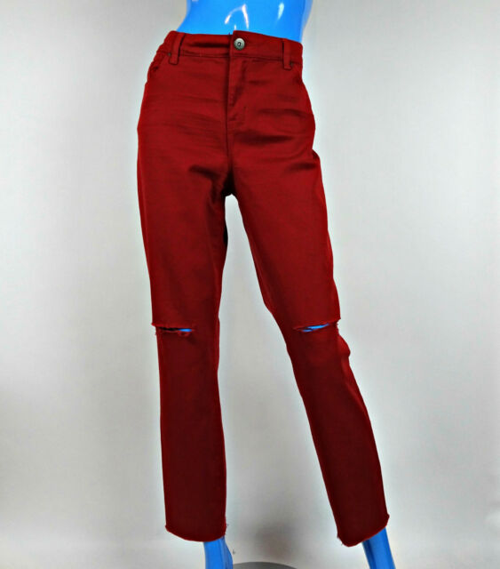 Style & Co. Skinny Leg Red Jeans 12 L Destroyed Cutoff Stretch Slimming Casual