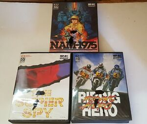 3-Neo-Geo-AES-Games-Nam-1975-75-Riding-Hero-Super-Spy-All-CIB-Complete