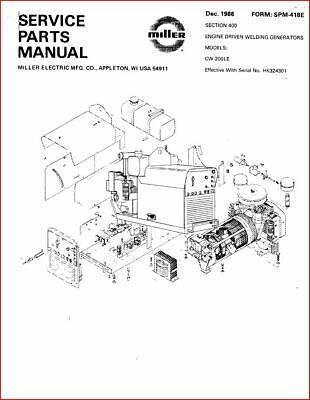 Miller Cw 200le Service Parts Manual Hk324301 Ebay