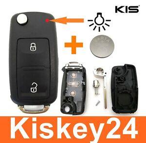 2Tasten Klappschlüssel Fernbedienung Gehäuse für VW Amarok T5 T6 + Batterie