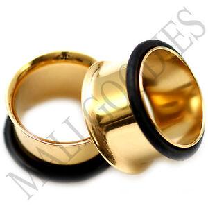 0858-Gold-Single-Flare-Flesh-Tunnels-Earlets-Big-Gauges-5-8-034-Plugs-16mm-PAIR