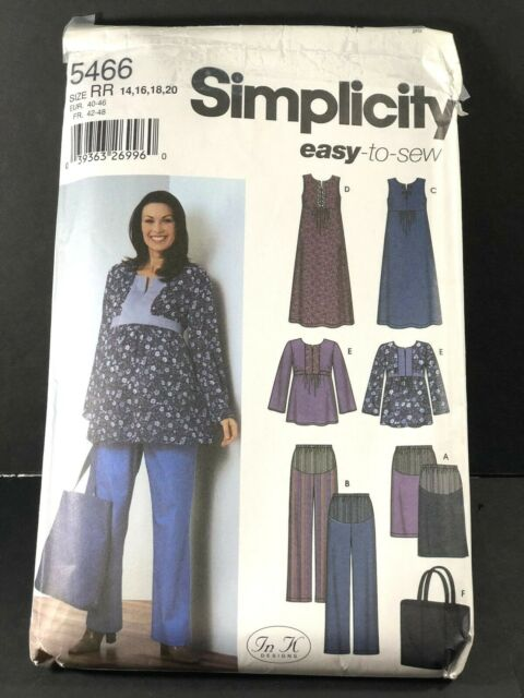 45068953a28 Sewing Patterns Simplicity  5466 SZ 14-20 Womens Maternity Dress Top Pants  Skirt