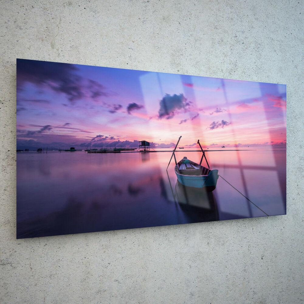 Toute Taille Wall Art Glass impression photo toile sur toile photo mer bateau lac PURPLE SUNSET p33545 63a381
