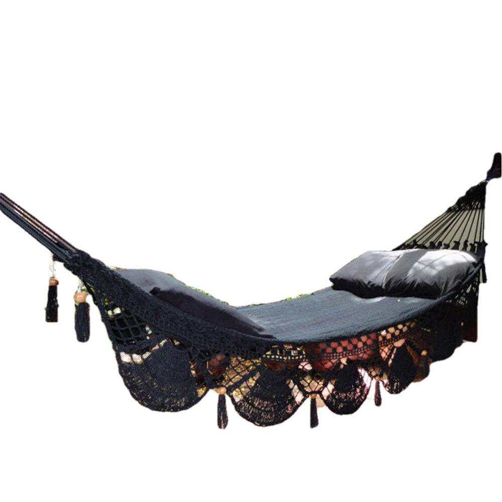 Maya Hängematte Häkel Fransen Schwarz Wandbehang Sessel Einzel Doppel Terrasse Terrasse Terrasse     | Hochwertig  cb23c9