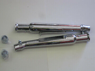 "Chrome 20/"" megaphone slip on muffler incl.end clamp @ 1-3//4/"" pipes /& mount strap"