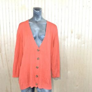 Vince-Camuto-Women-2X-Cardigan-Sweater-Viscose-Silk-Blend-Orange-3-4-Sleeve-Knit