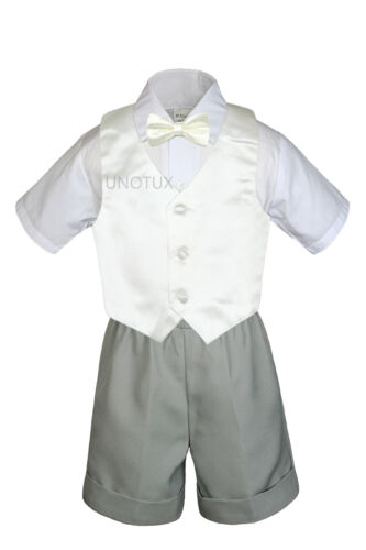 7pc Baby Boy /& Toddler Formal Vest Shorts Gray Suit Extra Vest Bow Tie Set S-4T