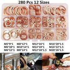 Car Drain Bolt Crush Washer Copper Oil Plug Gasket Seal Ring 280pcs Assortment