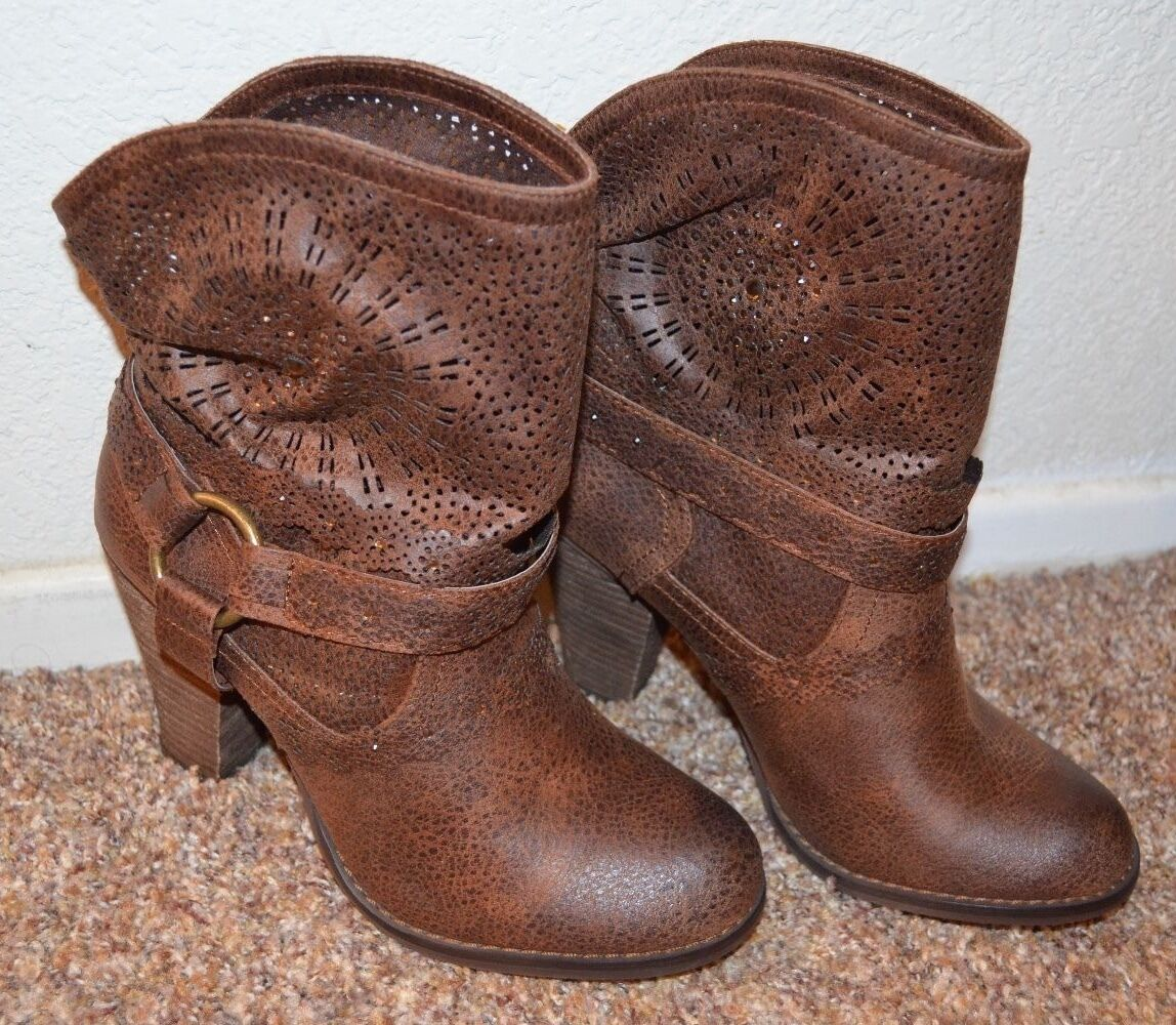NEW ~ NOT RATED Women BROWN Ankle Boots / Size 6.5, 7, 7.5 &  3-1/2