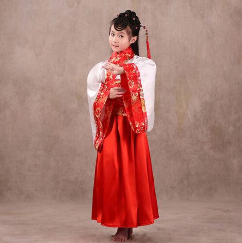 Girl/'s Studio Fairy Ancient Suit Hanfu Costume Chinese Folk Dance Dress For Kids