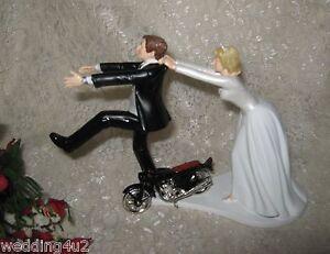 Wedding Party Reception Motorcycle Biker Hog Cake Topper Running Groom