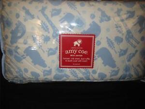 New Amy Coe Mod Safari Blue Boy Crib Bedding Set Giraffe