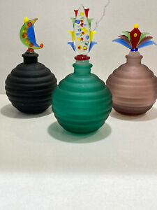 3-Vintage-ART-GLASS-PERFUME-BOTTLES-amp-STOPPERS-by-Glass-Act-Studio-5-1-2-034-6-034