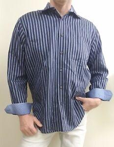 BUGATCHI-UOMO-Mens-size-L-Blue-Blue-Striped-Button-Long-sleeve-Shirt-FLIP-CUFF