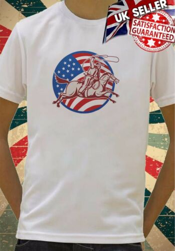 American flag and cowboy Boys Girls Birthday gift Top T shirt 115
