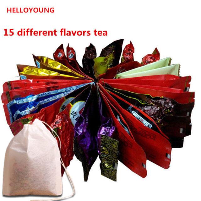 15 Bags Tea Assorted Tieguanyin Green Tea Milk Oolong Tea Dahongpao Black Tea