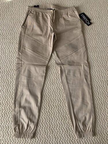 NWT Boy/'s Retro Stitch Khaki Moto Quilted Stretch Twill Jogger Pants SIZES 8-18