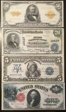 Reproduction US Currency Set #2 Grant Indian Chief Wash. 1899-1922 $1 $5 $20 $50