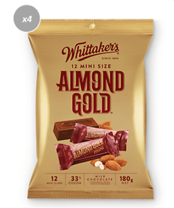 Details About 912320 4 X 180g Bags Of Whittakers Mini Almond Gold Slab Milk Chocolate Bars Nz