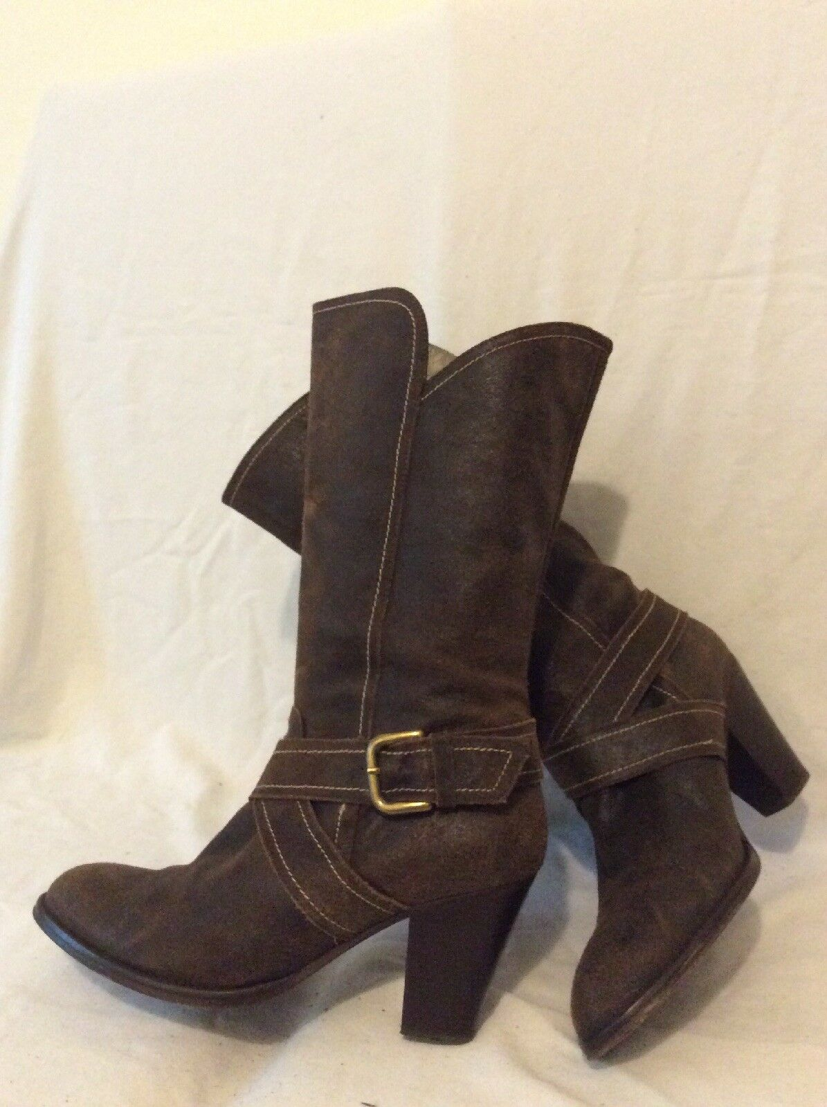 Stilltield Dark Brown Mid Calf Leather Boots Size 40