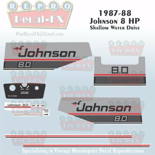 1987-88 Johnson 8 HP Shallow Water Drive Outboard Reproduction 11Pc Vinyl Decals