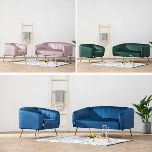 Gilded Metal Velvet Fabric Living Room Bedroom Sofa Home Office Foam Padded Seat Deep Green Single,Pink Single,Blue Single,Deep Green Double,Pink Double,Blue Double