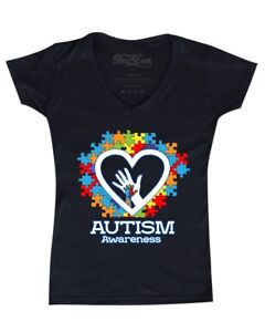 Autism-Awareness-Heart-Hand-Puzzle-Women-039-s-V-Neck-T-shirt-Support-Love-Kind-Tee