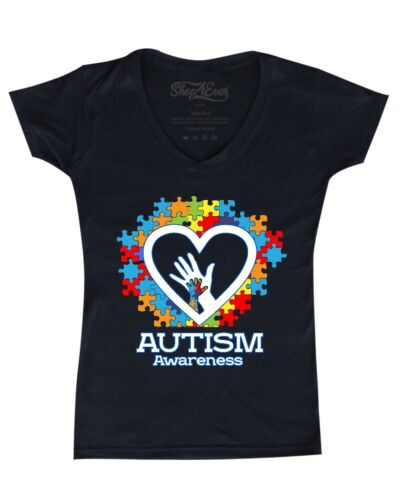 Autism Awareness Heart Hand Puzzle Women/'s V-Neck T-shirt Support Love Kind Tee